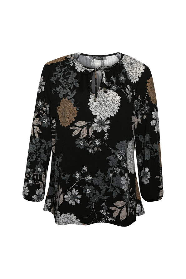 Floral Print Peasant Top, Black, original image number 0