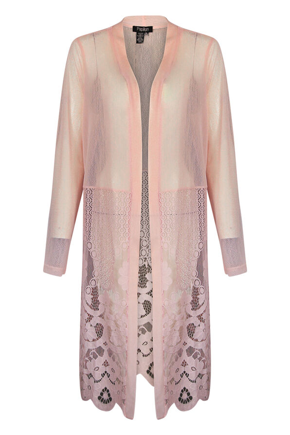 Long Sheer and Lace Cardigan, , original image number 1