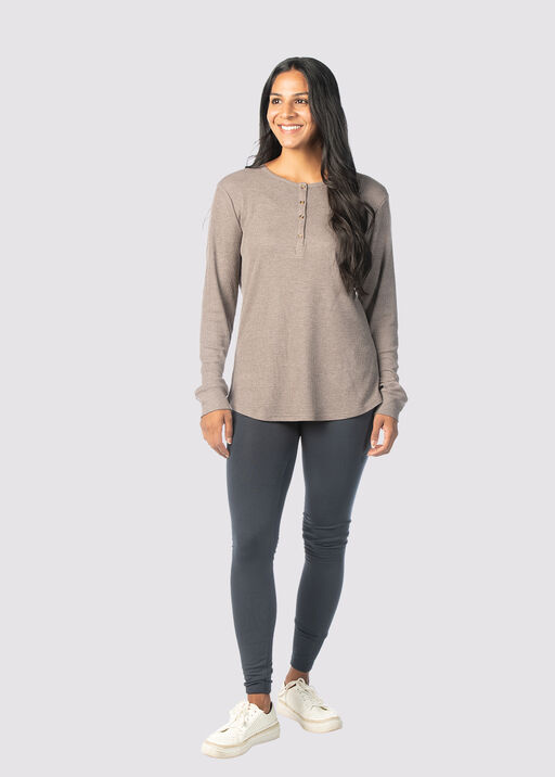 The-Extra Waffle Henley, Taupe, original
