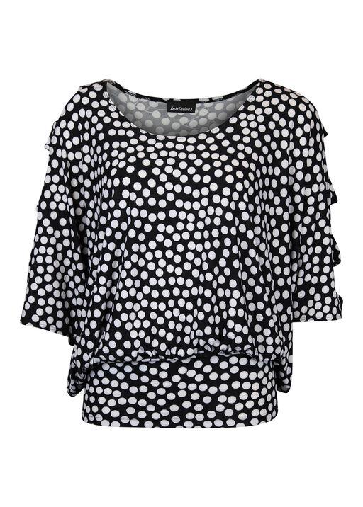 Lattice Sleeve Banded Polka Dot Top, Black, original