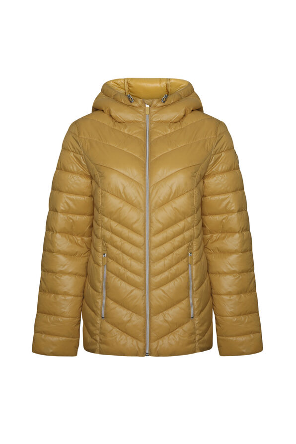 Short Ultralight Hooded Puffer Coat, Yellow, original image number 0