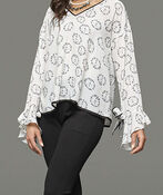 Peace and Floral Print Top with Bell Sleeves, White, original image number 2