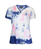Short Sleeve V-Neck T-Shirt with Mesh Inserts , Denim, original image number 0