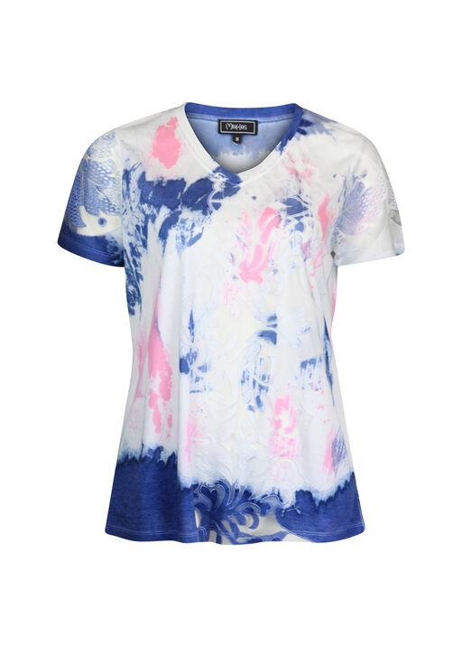 Short Sleeve V-Neck T-Shirt with Mesh Inserts , Denim, original