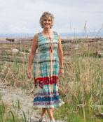 Mixed Print Midi Dress with Smocked Bodice, Emerald, original image number 0