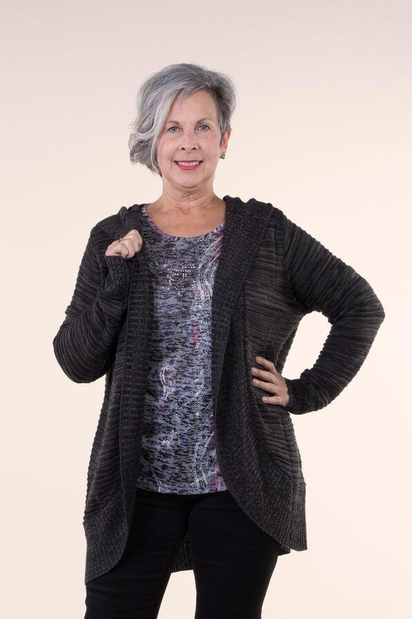Knit Cocoon Cardigan Hoodie, Charcoal, original image number 0