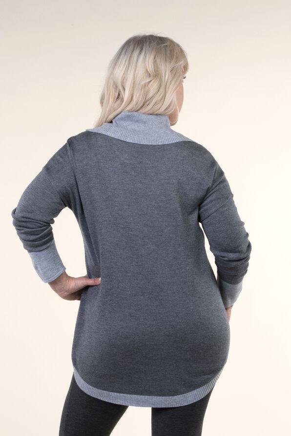 Cowl Neck Sweater, Grey, original image number 1