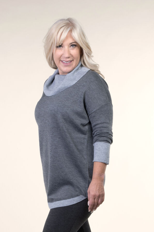Cowl Neck Sweater, Grey, original image number 2