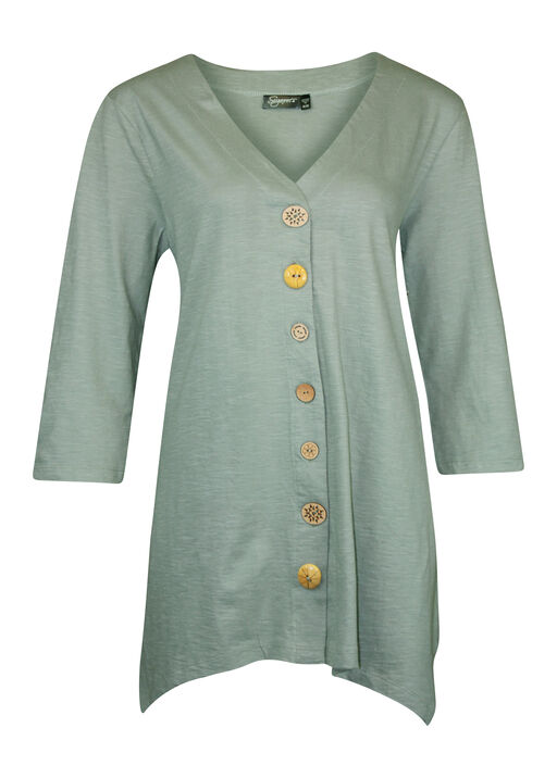 Wooden Button Front 3/4 Sleeve Top, , original