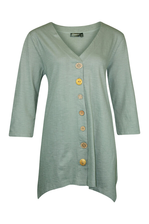 Wooden Button Front 3/4 Sleeve Top, , original image number 0