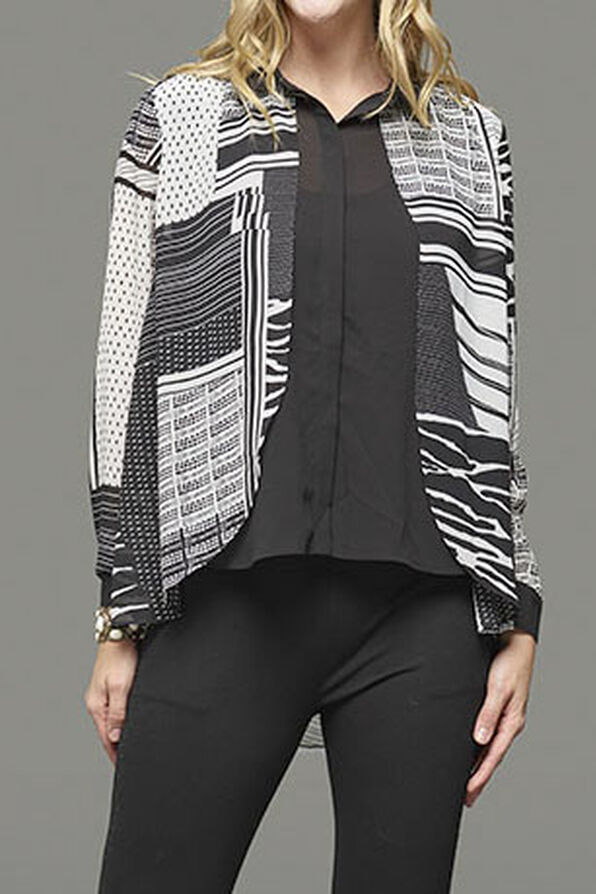 Mixed Striped Long Sleeve Blouse, Black, original image number 2