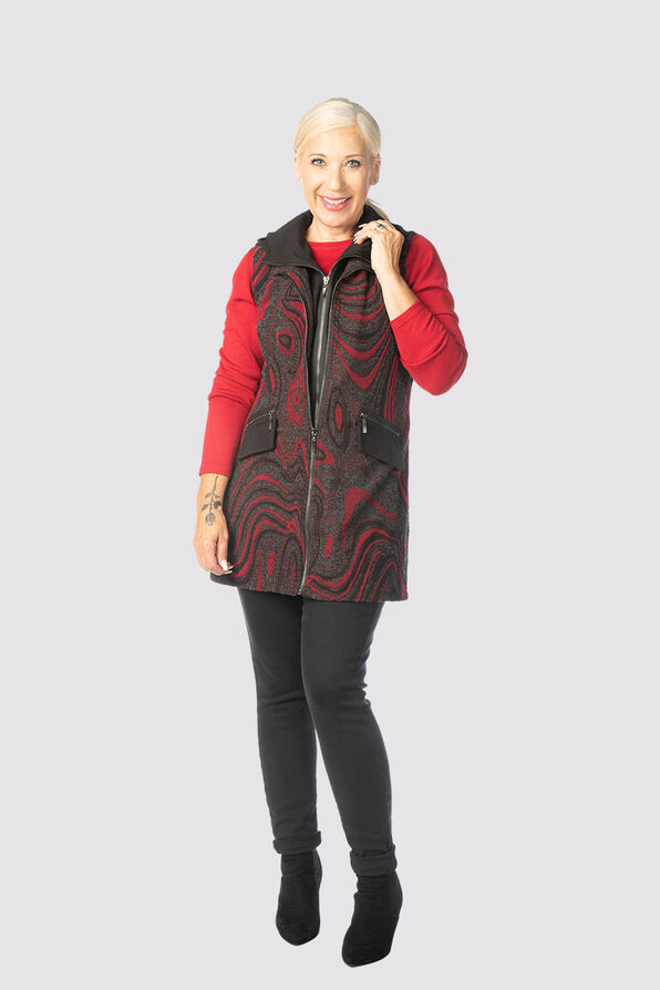 Sway Hooded-Tunic Vest, Red, original image number 0