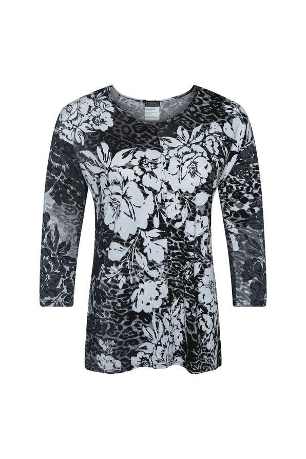 Floral Burnout Long Sleeve top, Black, original image number 0