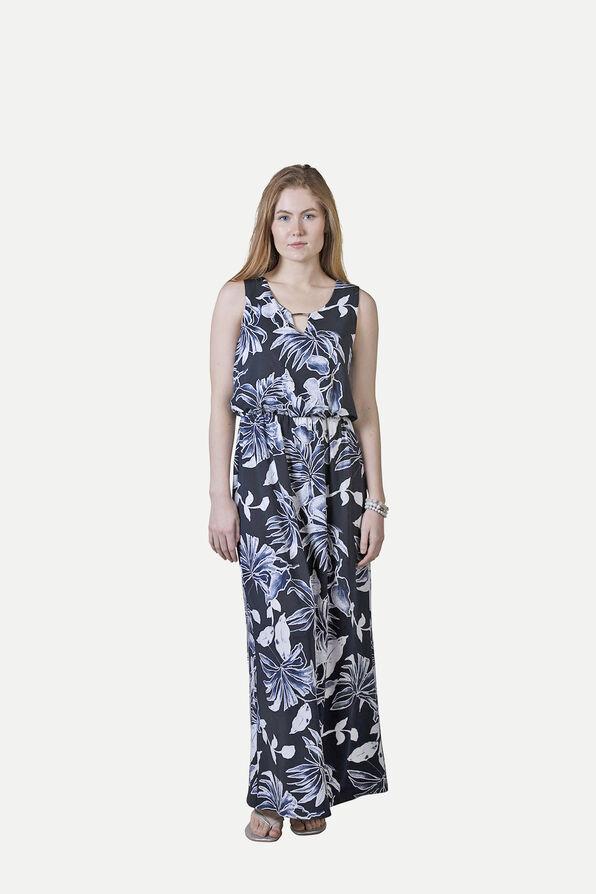 Sleeveless Maxi Dress with Keyhole Neckline, Navy, original image number 1