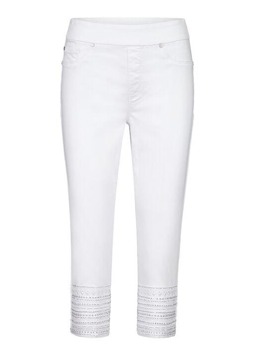 Studded Hem Denim Capri, White, original