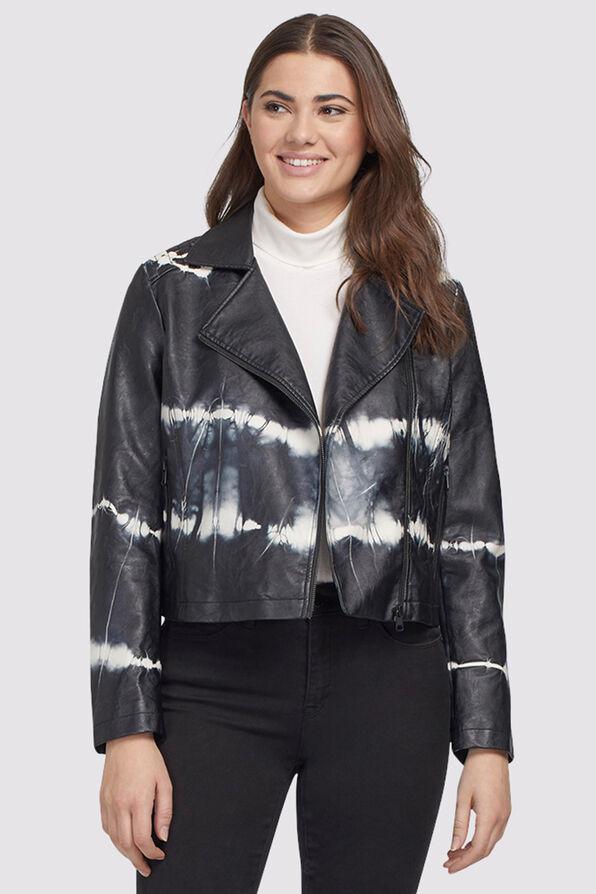 Tie-Dye Leather Biker Jacket, Black, original image number 0