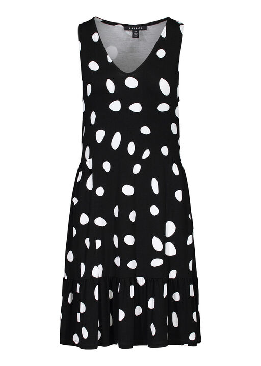 Polka Dot Sleeveless Dress, Black, original