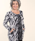 Printed Long Sleeve Tunic, Grey, original image number 0