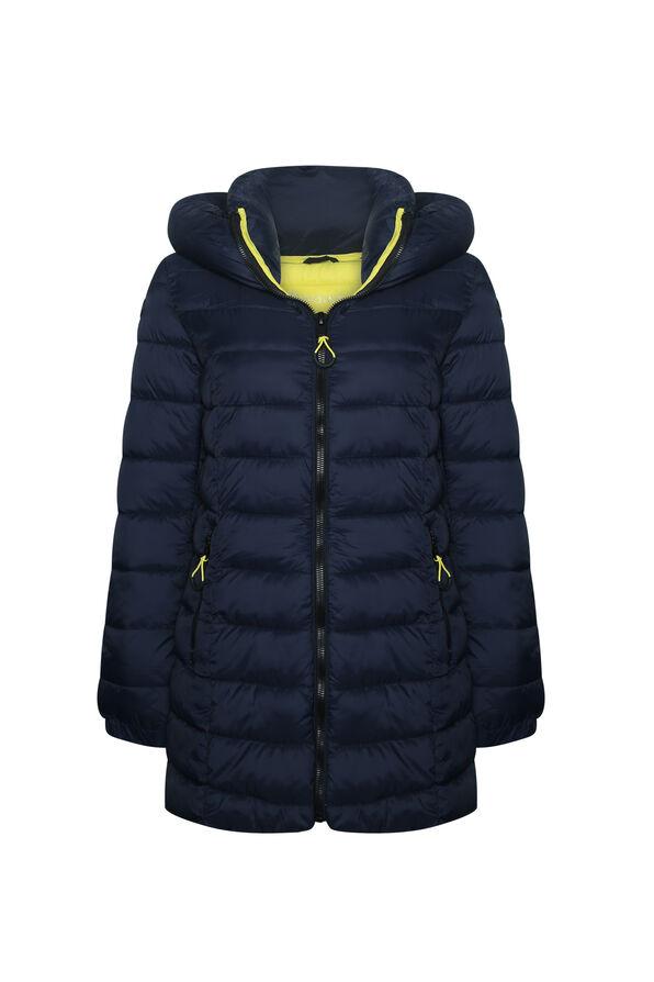 Contrast Long Ultralight Hooded Puffer Coat, Navy, original image number 0
