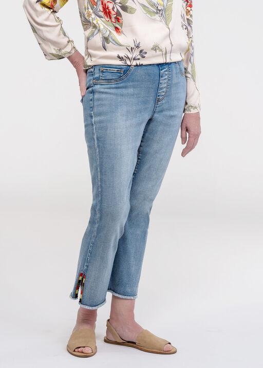 Embellished Cut-Off Cropped Wide Leg Jean, Blue, original