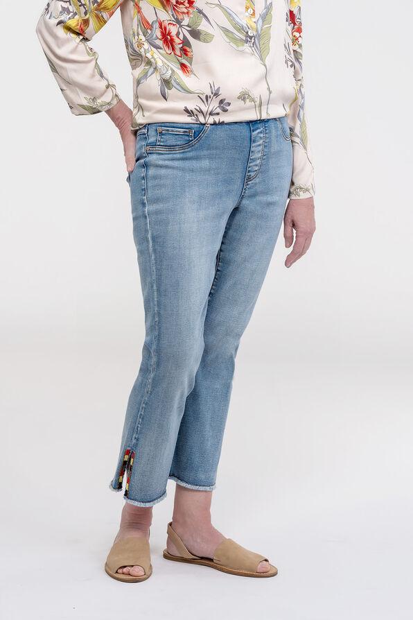 Embellished Cut-Off Cropped Wide Leg Jean, Blue, original image number 0