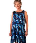 Sleeveless Floral Print Dress with Mesh Yolk, Blue, original image number 0