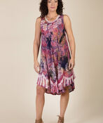 Sleeveless Embroidered Tie Dye Swing Dress, Pink, original image number 0