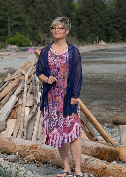 Sleeveless Embroidered Tie Dye Swing Dress, Pink, original