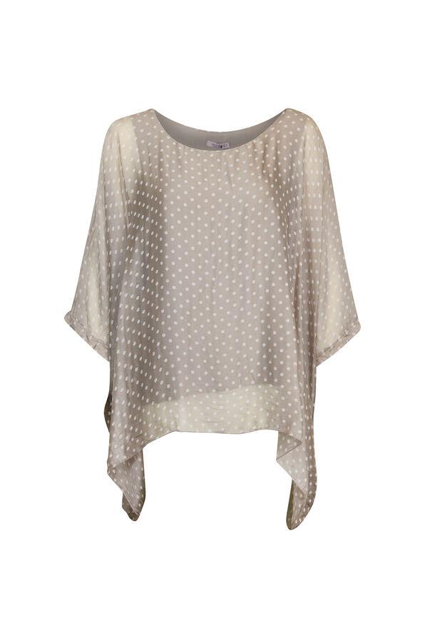 Silk Polka Dot Blouse with Short Sleeves, , original image number 1