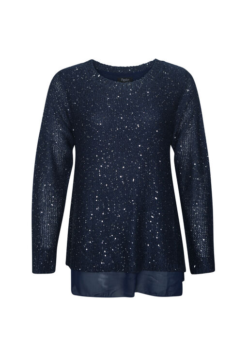 Sequins Dusted Sweater with Chiffon Underlay, , original
