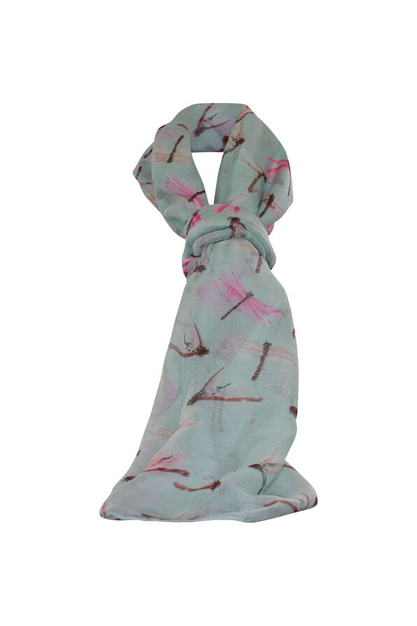Dragonfly Rectangle Scarf, Green, original image number 0