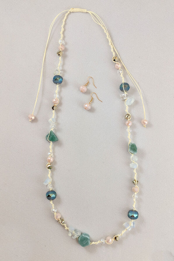 Nature's Beauty Necklace and Earrings Set, Blue, original image number 0