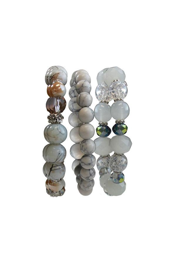 3Set Marble and Ice Beaded Stretch Bracelet, Ivory, original image number 0