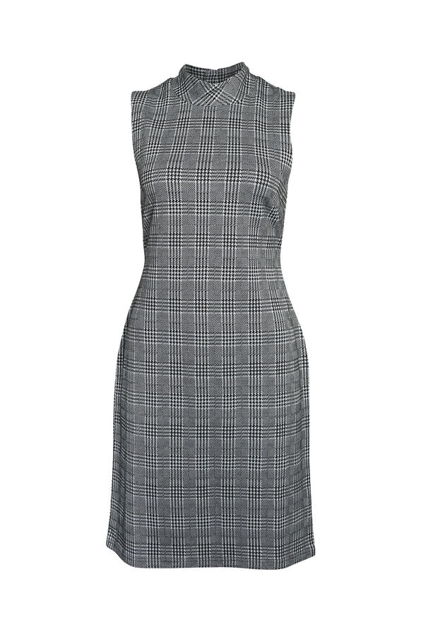 Endora Houndstooth Plaid Dress, Black, original image number 0