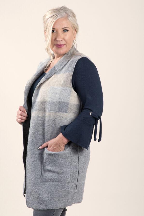 Longer Woolen Vest with Patch Pockets, Grey, original image number 1