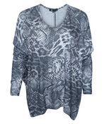 Ultra Soft Snake Print Long Sleeve Top, Charcoal, original image number 0