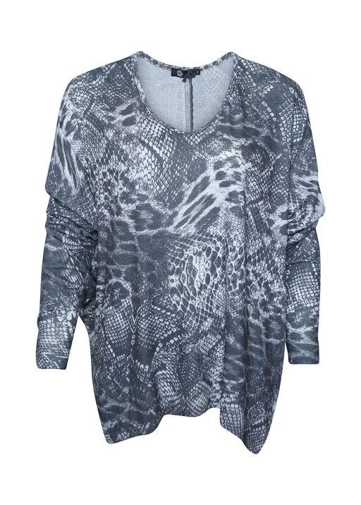 Ultra Soft Snake Print Long Sleeve Top, Charcoal, original