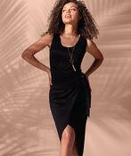 Sleeveless Wrap Black Dress Hi-Lo Hem, Black, original image number 0