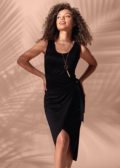 Sleeveless Wrap Black Dress Hi-Lo Hem, Black, original