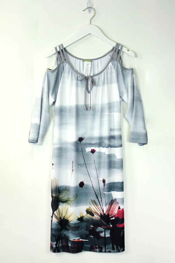 Watercolour Cold Shoulder Dress, Grey, original image number 0