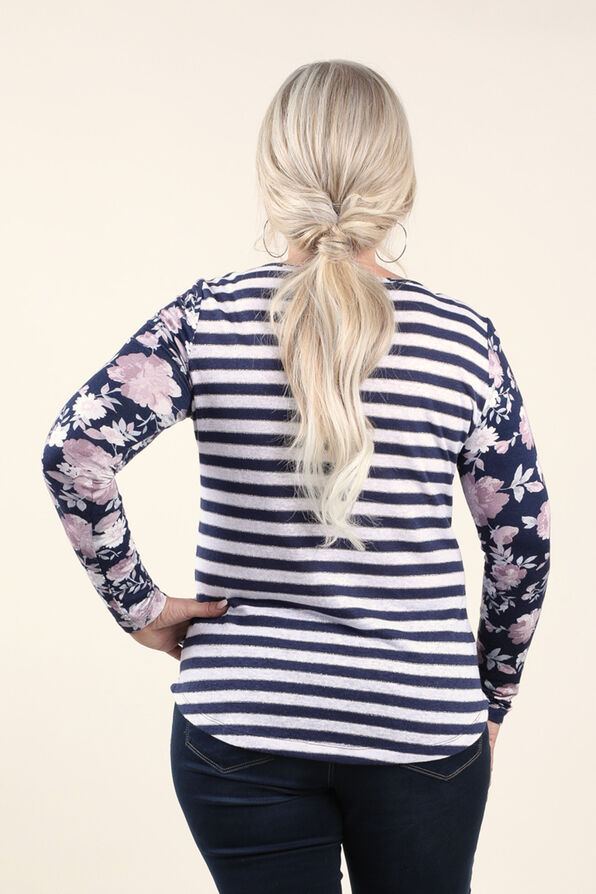 Top Long  Sleeve Knit, Navy, original image number 1