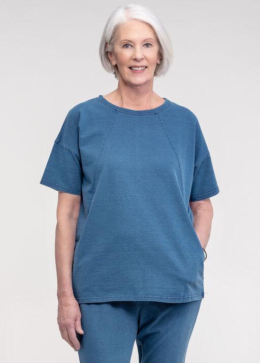 Short Sleeve Sweat Shirt with Pockets, Blue, original