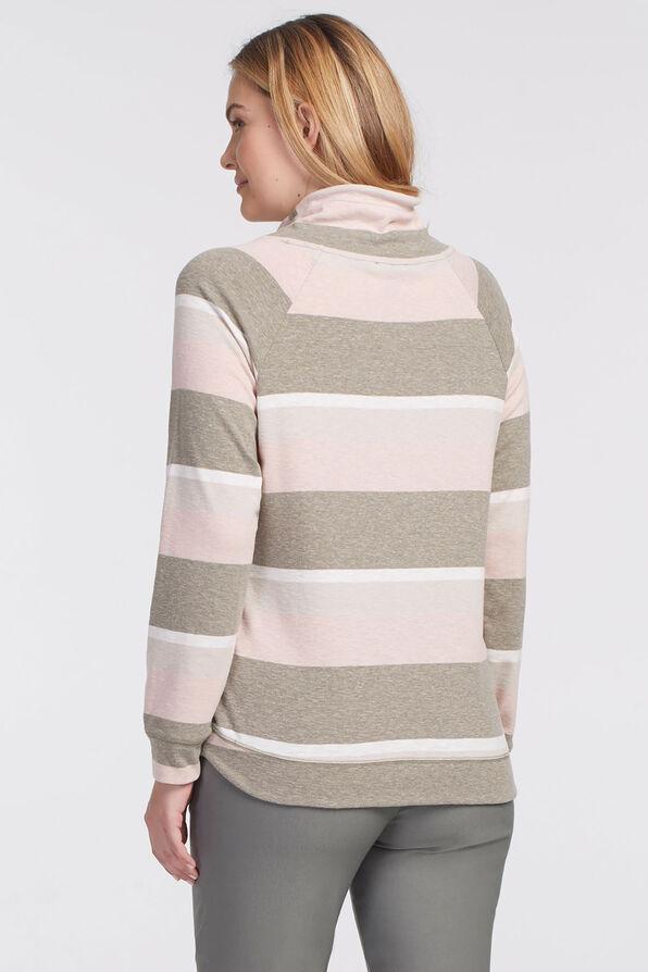 Striped Raglan Sweatshirt Tee, Beige, original image number 1