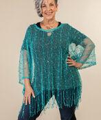 Mesh Poncho with Fringe, Turquoise, original image number 0