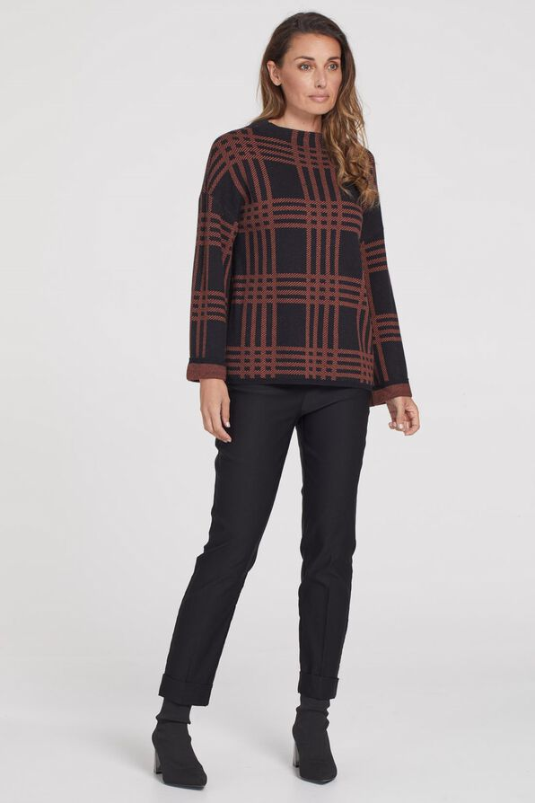 Plaid Mock Neck Sweater, Rust, original image number 2
