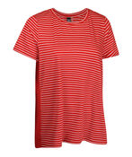 Striped T-Shirt with Chiffon Back and Button Detail , Red, original image number 0