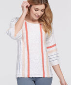 Summery Striped Knit Top, White, original image number 2