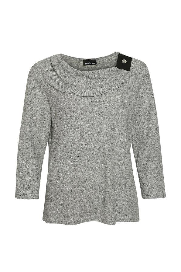 Drape Neck 3/4 Sleeve Top, Grey, original image number 0