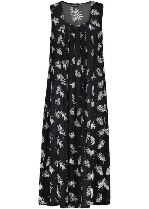 Pintuck Leaf Print Maxi Dress, Stone, original