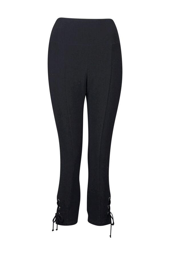 Capri Legging with Laced Hem, Black, original image number 0